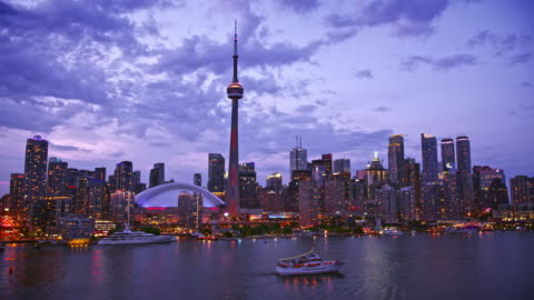 aerial waterfront of entertainment district of toronto in the evening - ontario canada stock videos & royalty-free footage