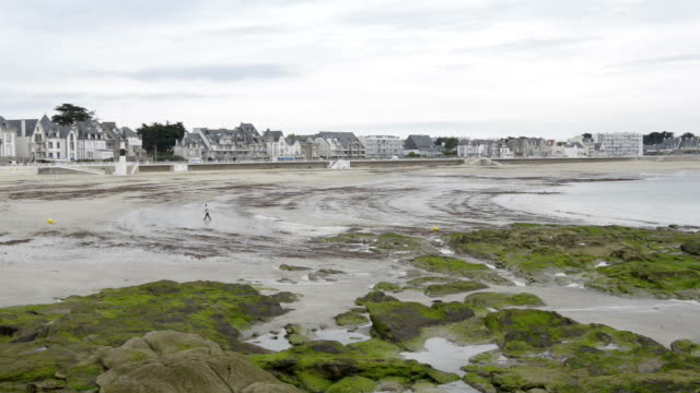 waterfront of quiberon at low tide - low tide stock videos & royalty-free footage
