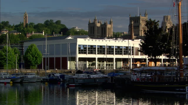 waterfront restuarants and boats, bristol, uk - bristol england stock videos & royalty-free footage