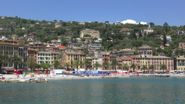 waterfront - santa margherita ligure, italy - inquadratura fissa video stock e b–roll