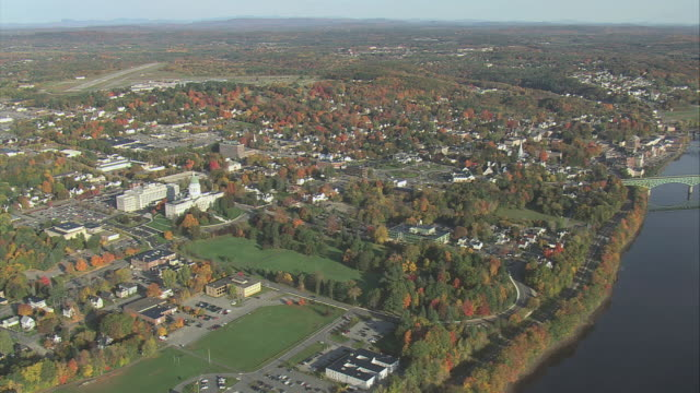 aerial waterfront town of augusta / augusta, maine, united states - augusta maine stock videos & royalty-free footage