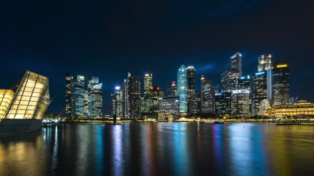waterfront view of marina bay financial district dusk to night transition - raffles city stock videos & royalty-free footage
