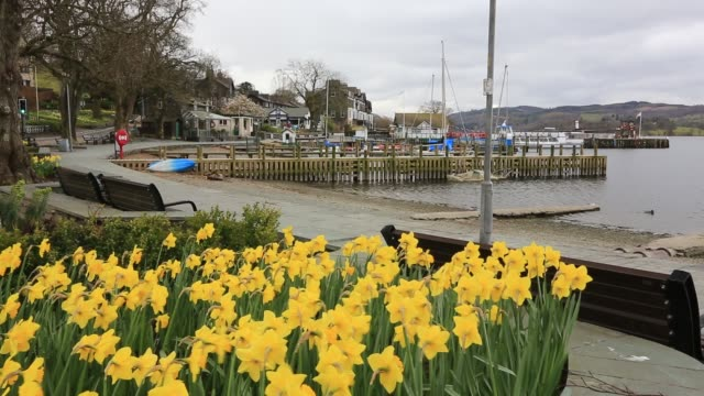 waterhead at the head of lake windermere in ambleside lake district uk during the covid 19 lockdown normally it would be heaving with visitors now it... - small boat stock videos & royalty-free footage