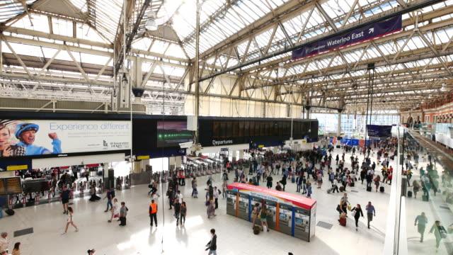 4K Waterloo London train tube underground & business office, passengers in rush hour, England, UK