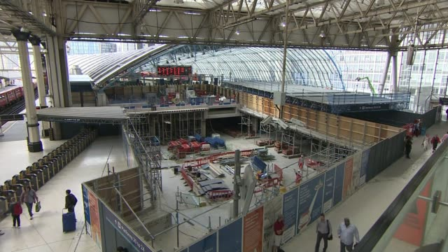Waterloo Station platforms reopen after expansion INT South West Trains notice avising customers to avoid station High angle shot repair work...