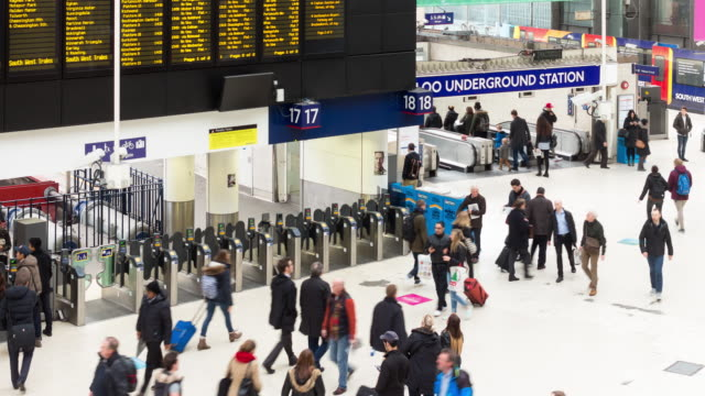 waterloo ticket gates - time lapse - commuter stock videos & royalty-free footage