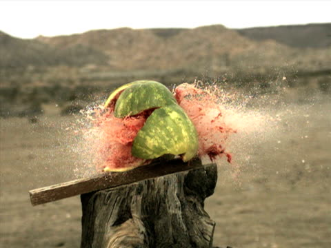 Watermelon explodes - high speed camera