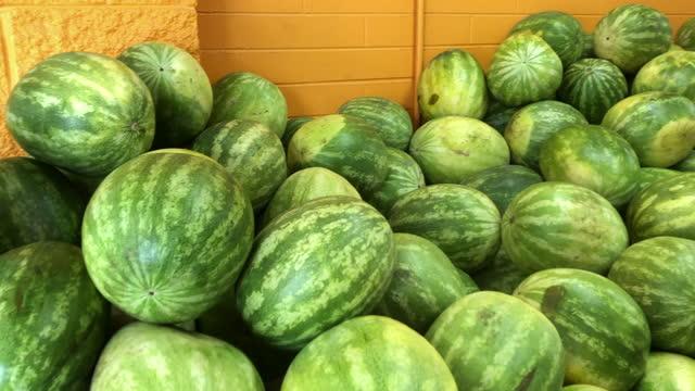 stockvideo's en b-roll-footage met watermelon for sale at a grocery in atlanta, georgia. - kiezen