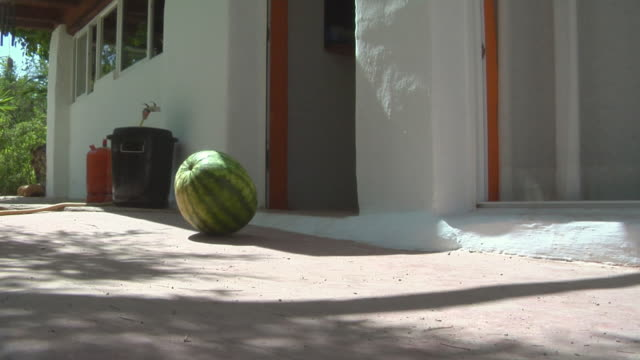 la watermelon rolling out of doorway and down a sidewalk / ibiza, spain - rotolare video stock e b–roll