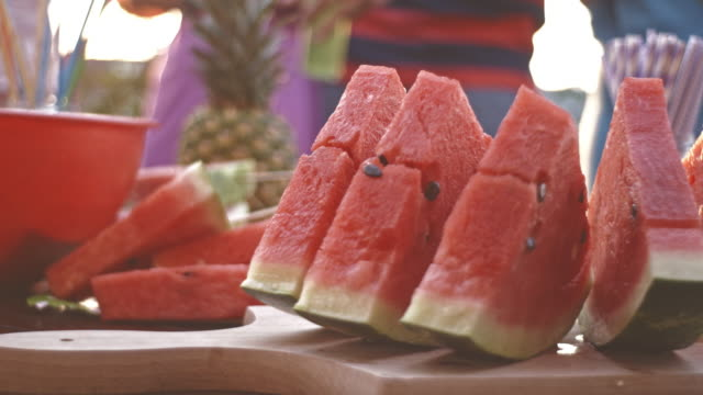 Watermelon slices on party table
