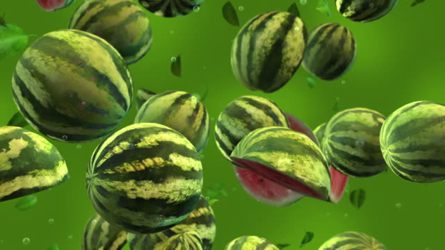 watermelons falling - slow motion - group of objects stock videos & royalty-free footage