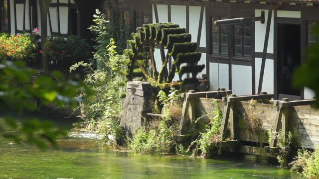 ms watermill on blautopf (source of river blau), blaubeuren, allgaeu, germany - timber stock-videos und b-roll-filmmaterial