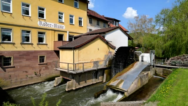 watermill on river saale, diebach, hammelburg, district bad kissingen, fränkische saale, bavaria, germany - mill stock videos & royalty-free footage