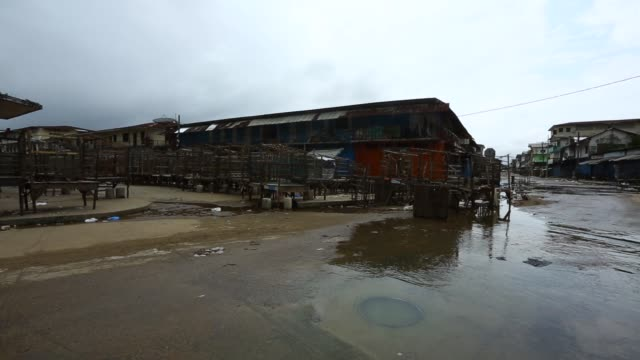 WS Waterside Market next to West Point lies empty today after the Liberian government closes it down and quarantines West Point to stop the Ebola...