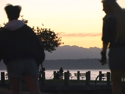 a waterside park at sunset - nordpazifik stock-videos und b-roll-filmmaterial