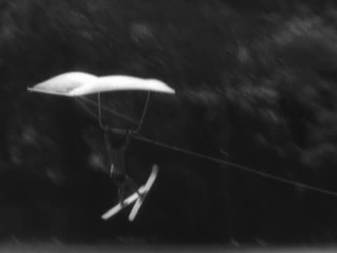 water-skier hang-gliding, crashing into water - waterskiing stock videos & royalty-free footage