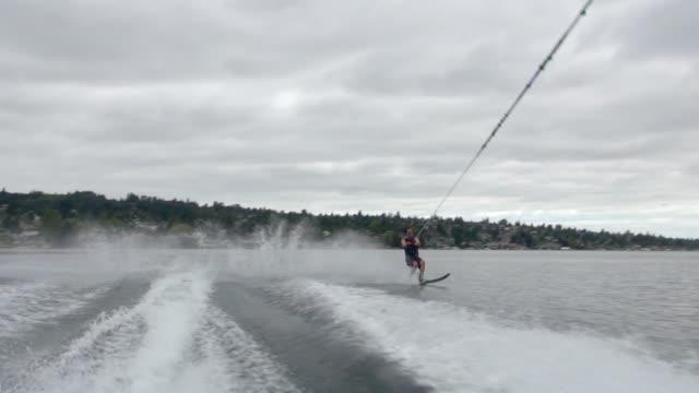 Water-skier Zigzagging On The Seattle Waters