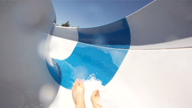 waterslide fun-pov - water slide stock videos & royalty-free footage