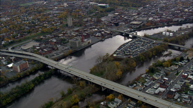 watervliet and cohoes - aerial view - new york,  albany county,  united states - albany new york state stock videos & royalty-free footage
