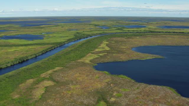vidéos et rushes de waterway winds through wetlands - hémisphère nord
