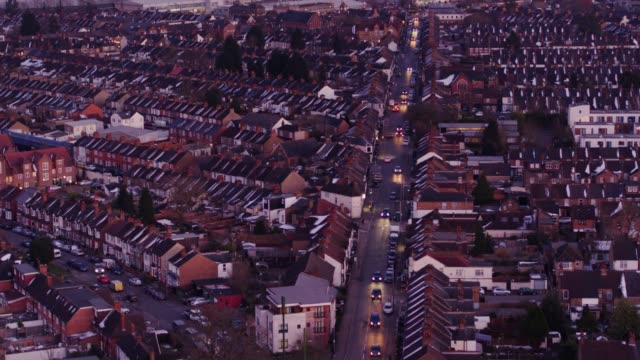 Watford, England at Twilight - Aerial View