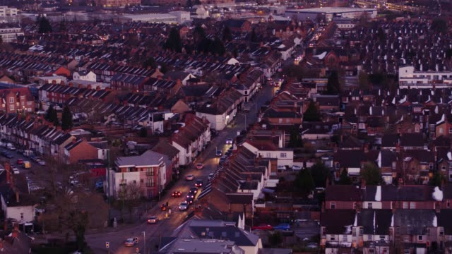 watford, england at twilight - aerial view - residential district stock videos & royalty-free footage