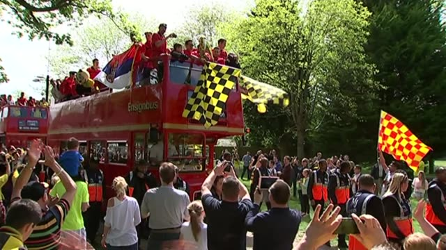 Watford open top bus parade to celebrate their promotion to the Premier League Watford players along on open top bus Vox Pops Various shots open top...