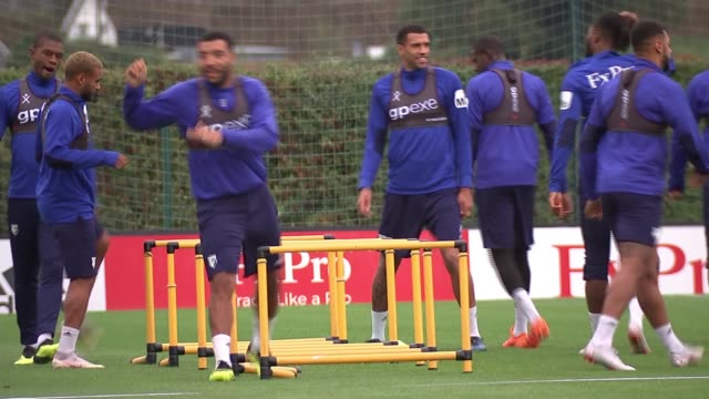 Watford set to perform well in Premier League ENGLAND Watford Vicarage Road stadium EXT Watford football club players doing exercises at training