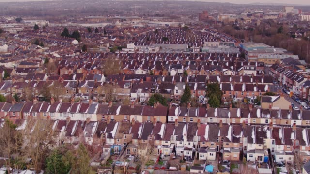 watford terraced houses - aerial view - human settlement stock videos & royalty-free footage