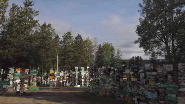 watson lake signpost forest located next to the alaska highway - 1942 stock videos & royalty-free footage