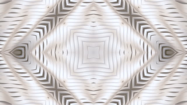 wave bend surface in line art style white kaleidoscopic vj motion background. abstract animation texture. digital design element. 3d rendering. 4k, ultra hd resolution - design element stock videos & royalty-free footage