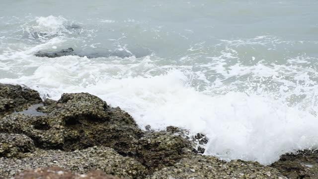 波の海の海岸線で、岩をヒット - 泡立つ波点の映像素材/bロール