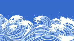 Wave illustrations of Japanese style[loop]