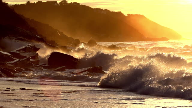 Wave rolling, Coast near Biarritz in the South West of France, Slow motion
