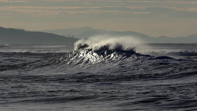 wave rolling, coast near biarritz in the south west of france, slow motion - tide stock videos & royalty-free footage