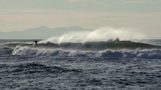 Wave rolling, Man surfing, Coast near Biarritz in the South West of France, Slow motion