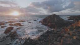 wave smashing giant causeway stone,Northern Ireland