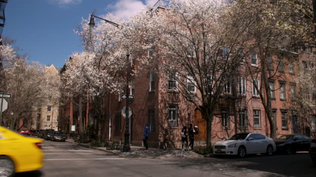 waverley place and 11th st in greenwich village on 7th avenue in manhattan in spring. - greenwich village stock videos & royalty-free footage