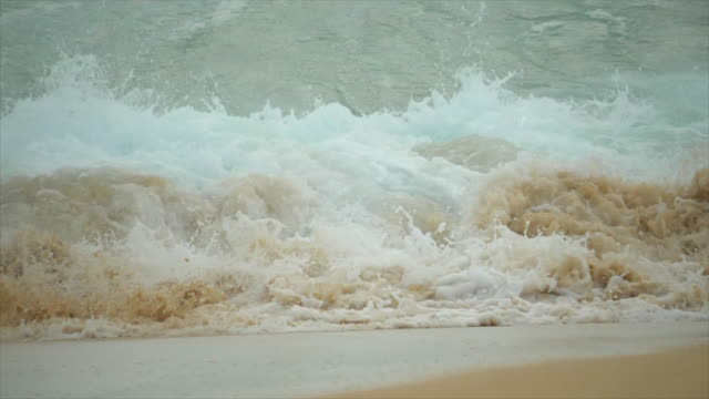 waves and surfing at sandy beach, oahu, hawaii. - slow motion - close up stock videos & royalty-free footage