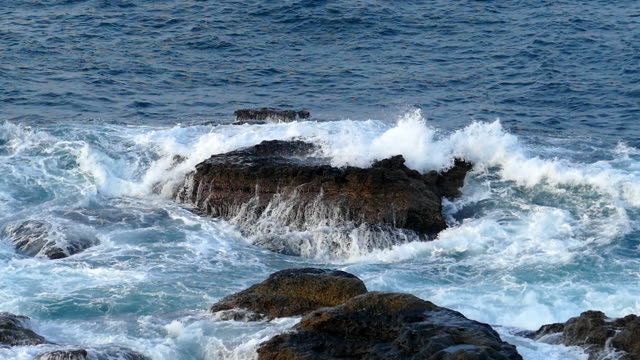 Waves Beating against the Rock in the Sea, Taipei, Taiwan