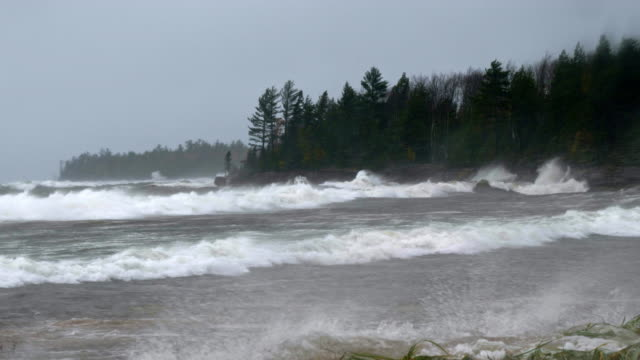 waves break during violent storm at sea - gale stock videos & royalty-free footage