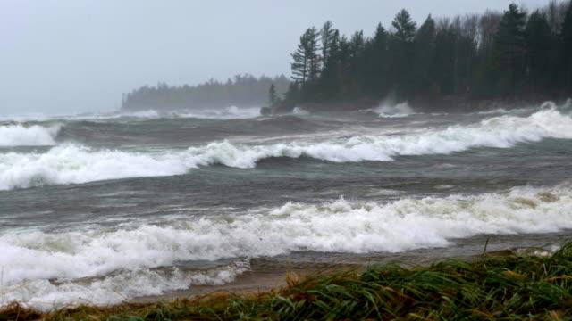 Waves break during violent storm at sea