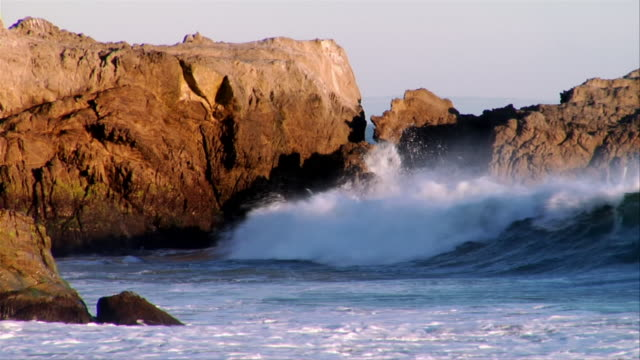 MS, PAN, Waves breaking against rocks, Leo Carrillo State Park, California, USA