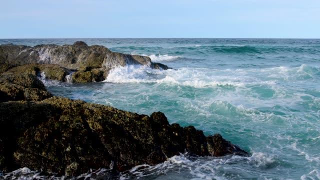 waves breaking on rocky coastline - low tide stock videos & royalty-free footage