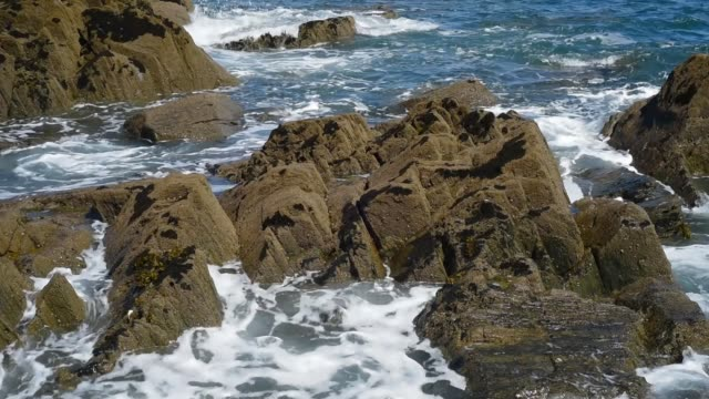 waves breaking on the rocks, pointe de sehar brittany. - david johnson stock videos & royalty-free footage