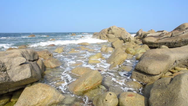Waves breaking on the rocky coastline - Finistere