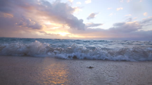 Waves coming onto the sandy beach at sunset