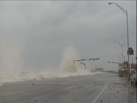waves crash against a seawall as hurricane ike strikes galveston, texas. - cyclone stock videos and b-roll footage