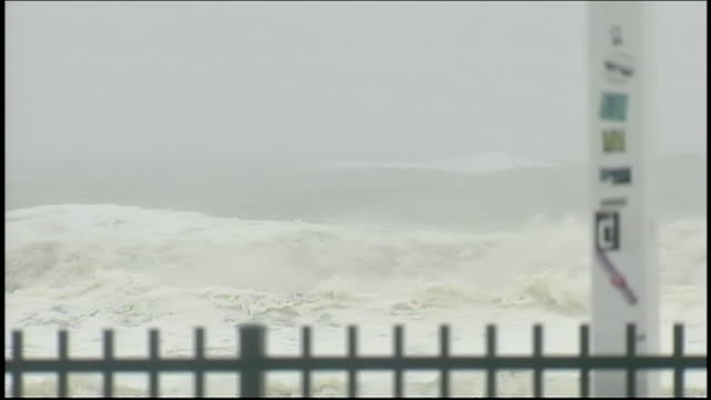 waves crash and churn during hurricane sandy - environment or natural disaster or climate change or earthquake or hurricane or extreme weather or oil spill or volcano or tornado or flooding stock videos & royalty-free footage