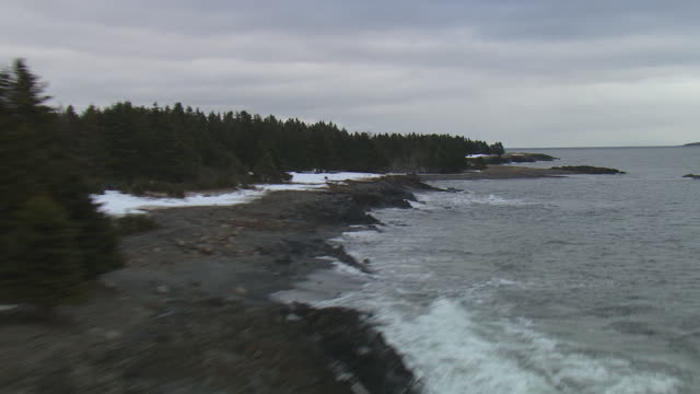 waves crash onto a rocky, wooded coast. - nova scotia stock videos & royalty-free footage